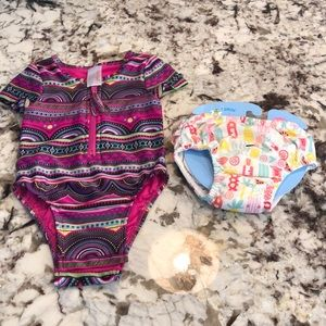 Swimsuit and reusable swimsuit diaper. NWT